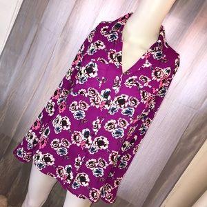 Express Magenta Floral Button Down Shirt